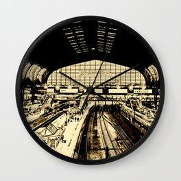 Hamburg Railwaystation monochrom Wall Clock