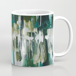 Acrylic Blue, Green and Gold Abstract Painting Coffee Mug