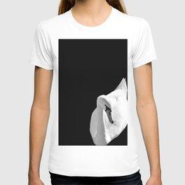 Swan On Black T-shirt