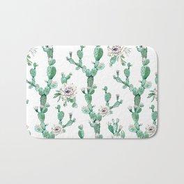 Cactus Rose Climb on White Bath Mat
