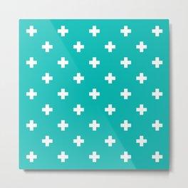 Swiss cross pattern on tiffany blue Metal Print