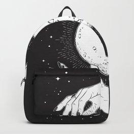 Mystic of 94 Minimalist Magical Dark Gothic Illustration Hands Over Crystal Ball Fortune Teller Stars Boho Bohemian Style Backpack