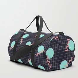 Cyan Circles and Pink Sharp Angled Lines on Dark Grid Pattern Duffle Bag