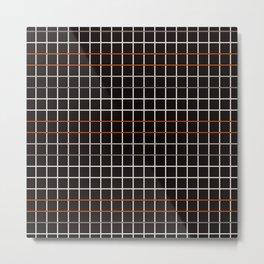 Minimalistic decorative grid in black, orange, white and grey Metal Print