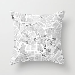 Newspaper Print Throw Pillow
