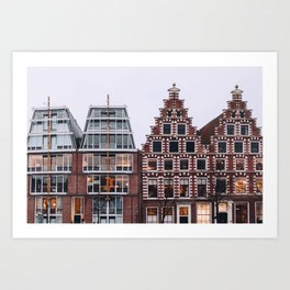 Symmetrical twin canal houses near Spaarne river in Haarlem in winter II | Haarlem historical city, the Netherlands | Urban travel photography Art Print Art Print