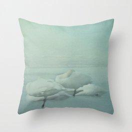 Swans on Frozen Lake Throw Pillow