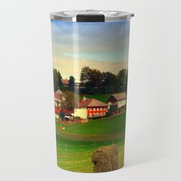 Hay bales and country village   landscape photography Travel Mug