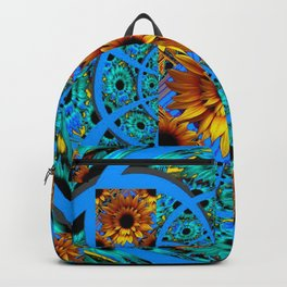 AWESOME BLUE & GOLD SUNFLOWERS  PATTERN ART Backpack