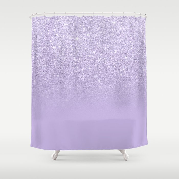 Stylish purple lavender glitter ombre color block Shower Curtain by ...