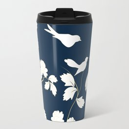 Birds, Branches and Blossoms Navy and White Travel Mug