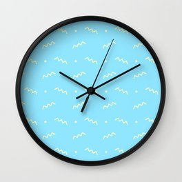 Sky blue yellow geometrical doodle zentangle pattern Wall Clock