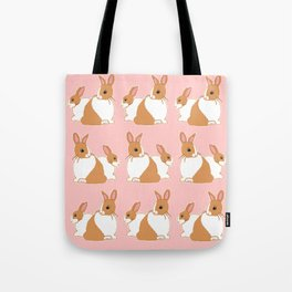 Blonde Dutch Rabbits Pattern Tote Bag