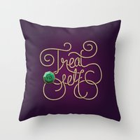 treat yo self Throw Pillows featuring Treat Yo Self by Nana Adwoa Sey