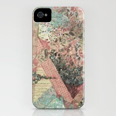 PIECES OF ME - Lovely Muted Pink Black White Floral Stripe Abstract Acrylic Fabric Collage Painting Slim Case iPhone (4, 4s)