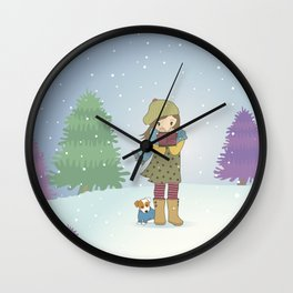 Girl and Dog in Snow Illustration Wall Clock