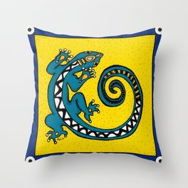 Tribal Gecko Throw Pillow