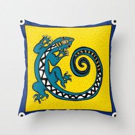 Tribal Gecko Throw Pillow
