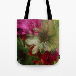 Grainy Green Flowers Tote Bag