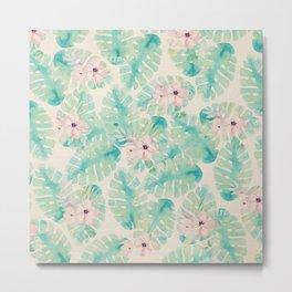 Blush pink green watercolor tropical ivory floral Metal Print