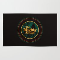 reggae Area & Throw Rugs featuring The Mighty Souls: Reggae Legends by Damien Koh