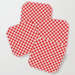 Jumbo Australian Racing Flag Red and White Checked Checkerboard Pattern Coaster