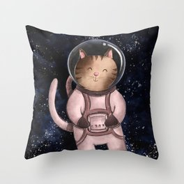 Astrocat Illustration Throw Pillow
