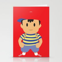 earthbound Stationery Cards featuring Ness - Earthbound - Super Smash Brothers - Minimalist by Adrian Mentus