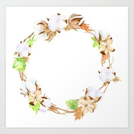 Watercolor Cotton Boll Wreath Art Print