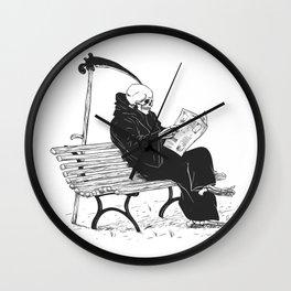 Grim reaper reading newspaper - cartoon skeleton - dark skull Wall Clock