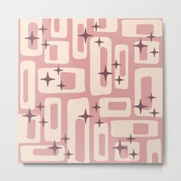 Retro Mid Century Modern Abstract Pattern 576 Dusty Rose Metal Print
