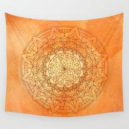 Watercolor Mandala Pattern Orange Wall Tapestry