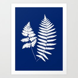 Woodland Fern Pattern, Cobalt Blue and White Art Print