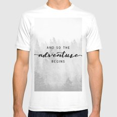 And So The Adventure Begins White Mens Fitted Tee LARGE