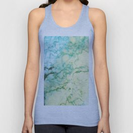 Abstract modern teal brown marble tree pattern Unisex Tank Top