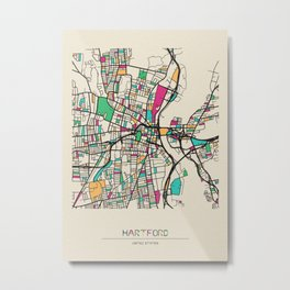Colorful City Maps: Hartford, Connecticut Metal Print