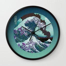 Great Wave Off Kanagawa Mount Fuji Eruption with Gradient  Wall Clock