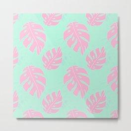 Pink and Mint Green Monstera Pattern Metal Print