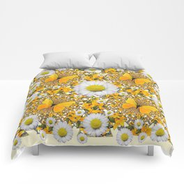 MONTAGE WHITE DAISIES  GREEN FROGS & BUTTERFL IES Comforters