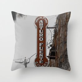 Vintage Neon Arturo Fuente Sign Ybor City Florida Throw Pillow