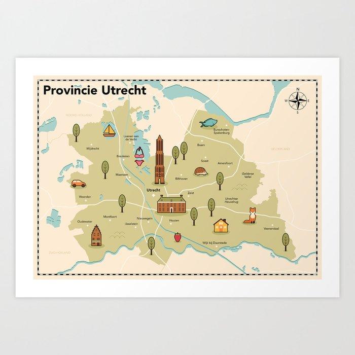 Geïllustreerde kaart van de provincie Utrecht Art Print