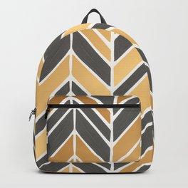 Intermittent Herringbone – Gold & Grey Backpack