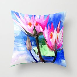 Pink Water lilies , lotus, lily pad, Bright Pink Blue Floral Throw Pillow