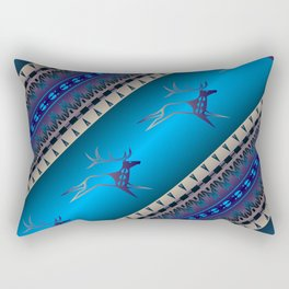 Elk Spirit (Blue) Rectangular Pillow