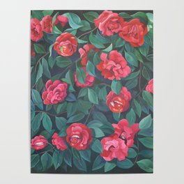 Camellias, lips and berries. Poster