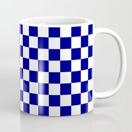 Navy Blue and White Large Check Coffee Mug