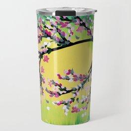 Green With Pink Blossoms Travel Mug