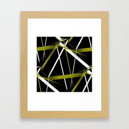 Seamless Olive Green and White Stripes on A Black Background Framed Art Print