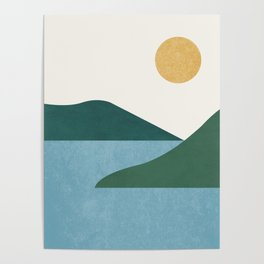Sunny Lake - Abstract Landscape Poster