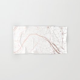 Paris France Minimal Street Map - Rose Gold Glitter Hand & Bath Towel